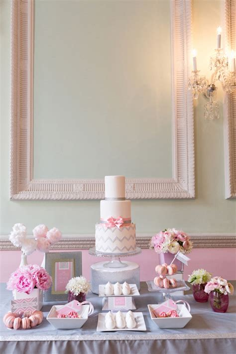 pink and silver table pink and silver chevron cake table ideas