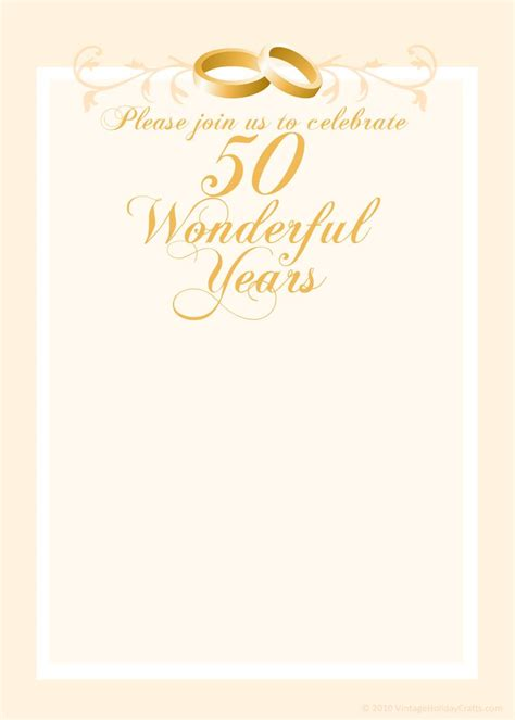 Free 50th Wedding Anniversary Invitations Templates 50th Anniversary Templates Free