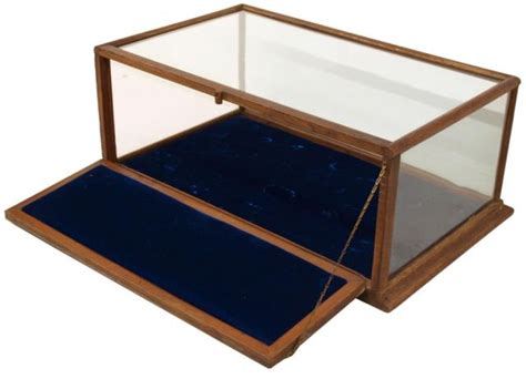 antique oak glass table top display cabinet