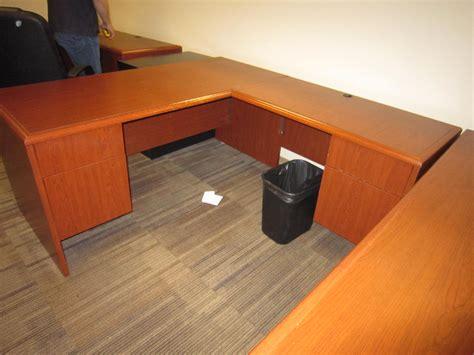 Used L Shaped Desks L Shape Used Desk Laminate Cherry Right Return National Office Interiors And Liquidators