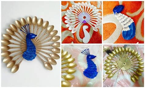 Wall Hanging Paper Craft - how to make peacock wall hanging easy craft ideas
