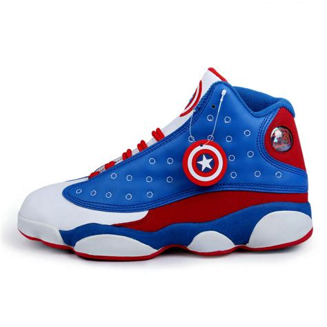 white jordans shoes air 13 captain america series high black white