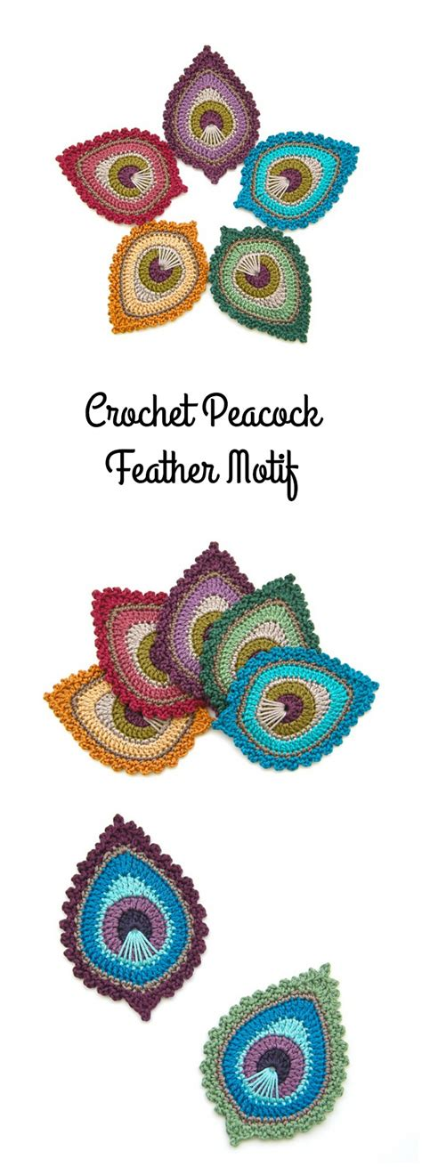 Square Motif Feather crochet peacock feather motif pretty ideas