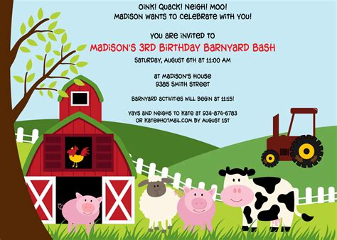 Printable Farm Animal Birthday Invitations | printable farm animals birthday party invitation by cohenlane