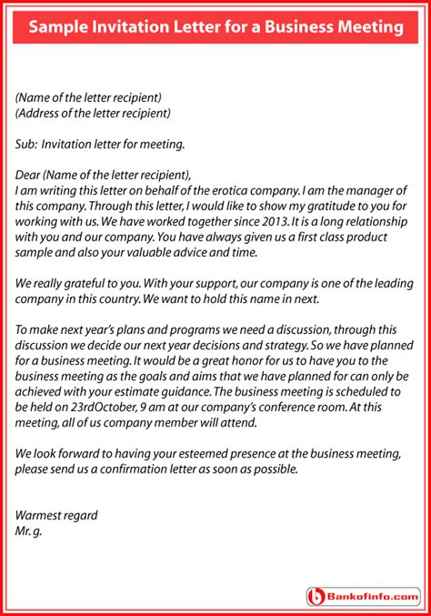 invitation letter for corporate event sle of an invitation letter for a business meeting