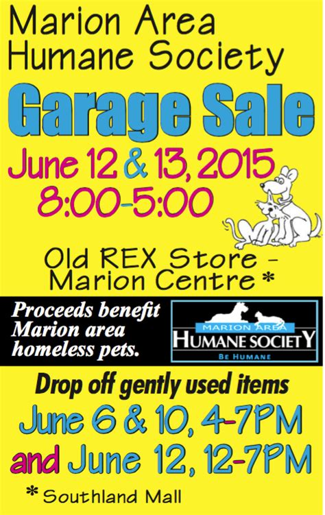 Fundraising Letter Humane Society Marion Area Humane Society Holding Garage Sale Fundraiser Marion