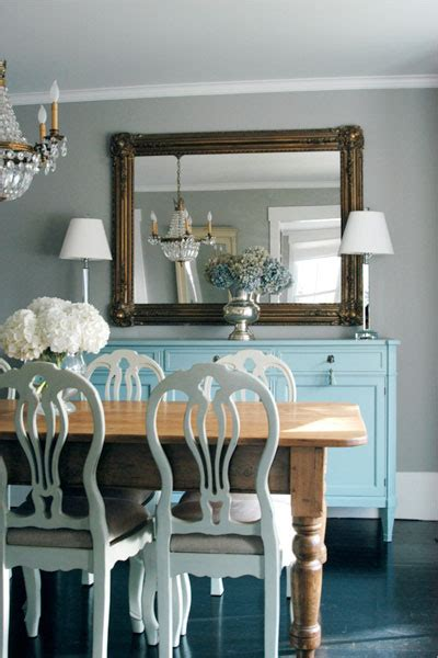 turquoise blue sideboard transitional dining room