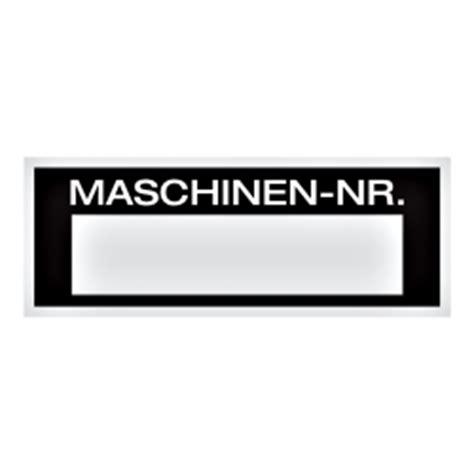 Aufkleber Maschinen by Maschinen Etiketten Quot Maschinen Nr Quot Aluminiumschild 80 X