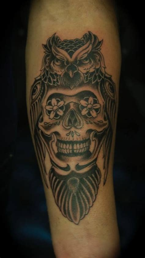 day of the dead tattoo skull with owl owlandskull