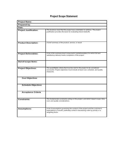 Preliminary Scope Statement Template Project Plan Scope Template