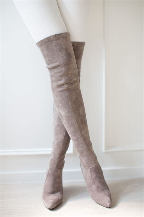 taupe the knee suede leather boots