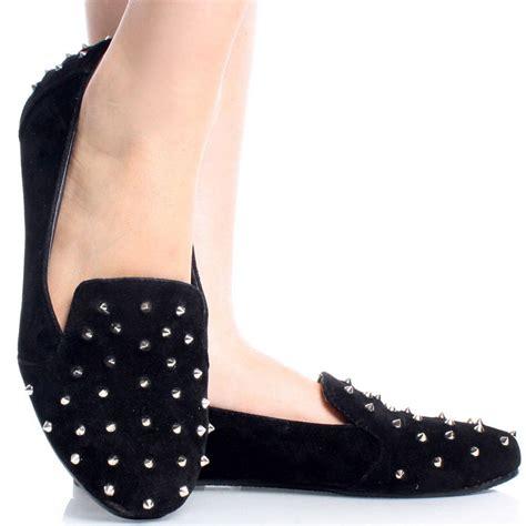 black suede spike studded loafers slip on flats
