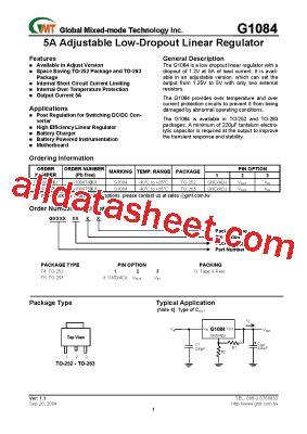 transistor g1084 g1084 datasheet pdf global mixed mode technology inc