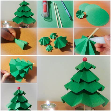 making christmas decorations at home how to make simple paper christmas trees step by step diy