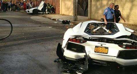crashed white lamborghini lamborghini snaps in two during crash with sedan powerblog