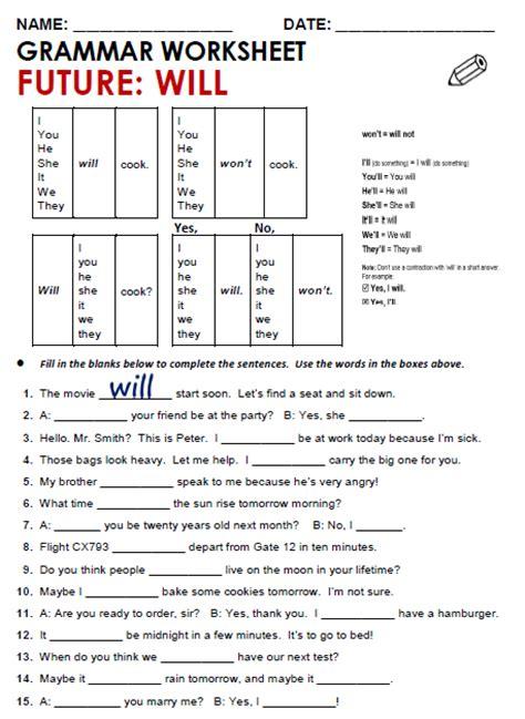 Worksheet Grammar Pdf by All Worksheets 187 Simple Future Tense Worksheets Pdf