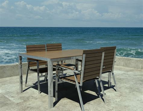 Chaise Exterieur Design 331 by Designer Garden Table In Teak And Stainless Steel With