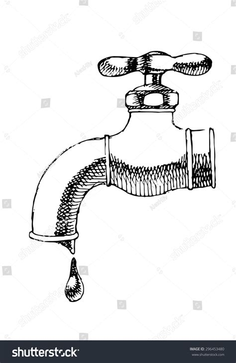 Water Faucet Drawing by Sketch Of Water Tap Vector Illustration 296453480