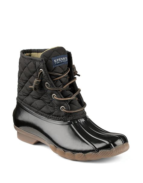 black duck boots sperry top sider saltwater quilted duck boots in black