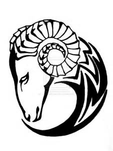 nice tribal aries tattoo design