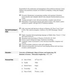 Exles Of A Cv Resume by Curriculum Vitae Exle
