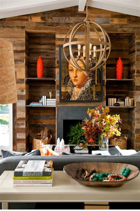 wonderful Open Shelving Living Room #4: Rustic-Wood-Wall-With-Fireplace-and-Built-In-Shelves.jpeg