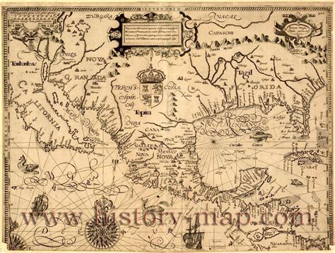 ancient american map mexico in 1600 s