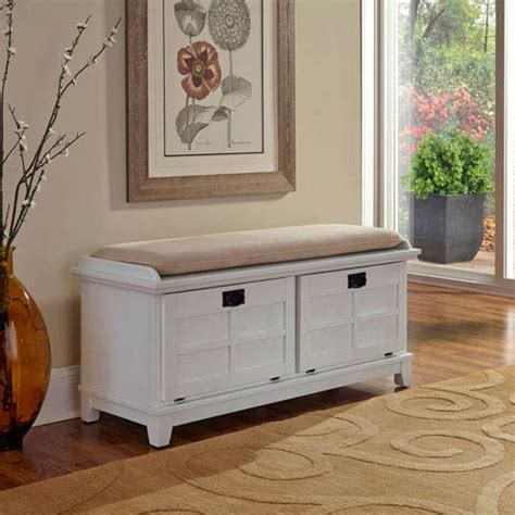 White Upholstered Storage Bench by Arts And Crafts White Upholstered Storage Bench Home