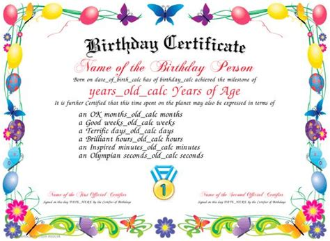 create your own certificate template birthday and print a unique birthday