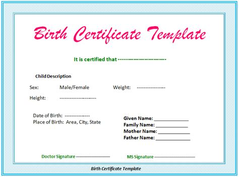 template birth certificate document templates 5 free printable birth certificate
