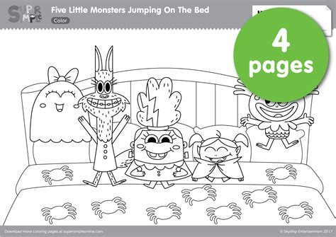 five little monsters jumping on the bed five little monsters jumping in the bed coloring pages