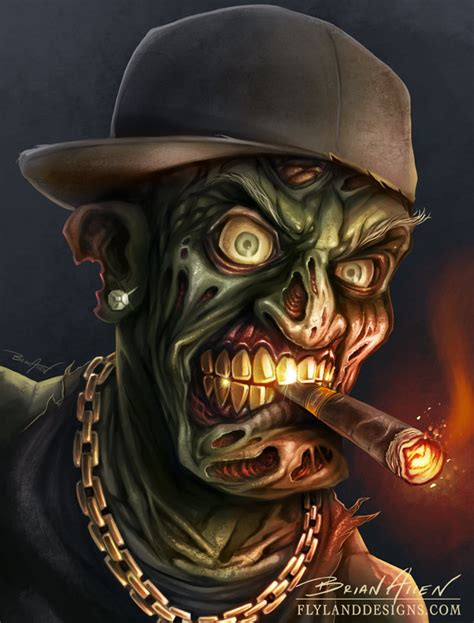 hip hop zombie gangsta digital painting flyland designs