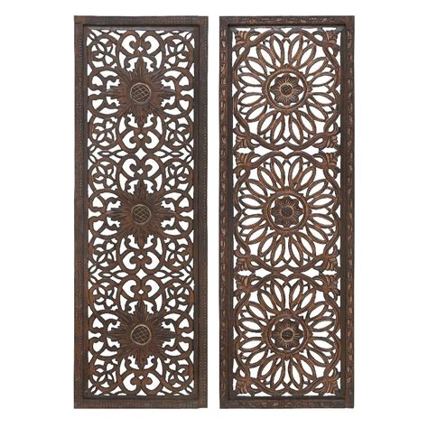 decor wall panels carved wood wall panel sculpture rich brown floral home accent d