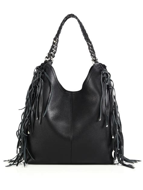 Roberto Cavalli Rome Leather Hobo by Lyst Roberto Cavalli Fringed Leather Hobo Bag In Black