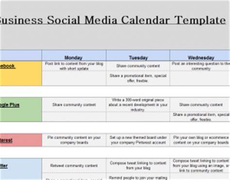 Social Media Calendar Exle