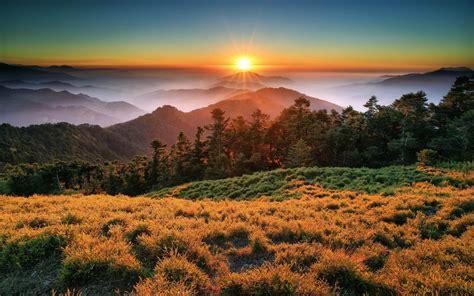 sunset mountains clouds fog taroko national park china