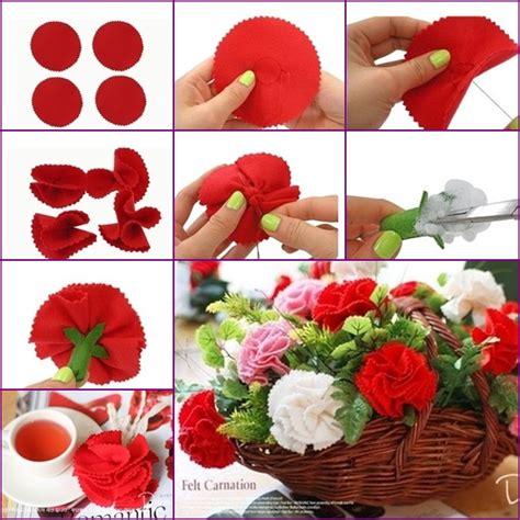 How To Make A Paper Carnation - diy easy felt carnation flower basket