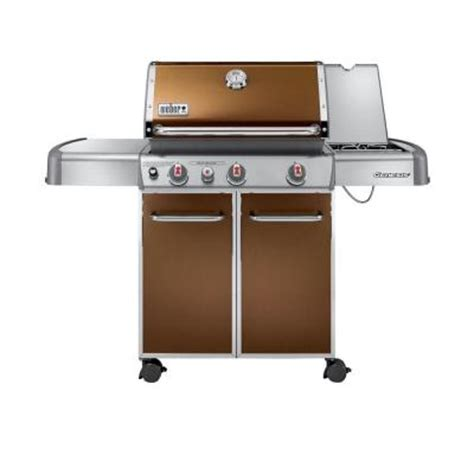 weber genesis e 330 weber genesis e 330 3 burner propane gas grill in copper 6532001 the home depot
