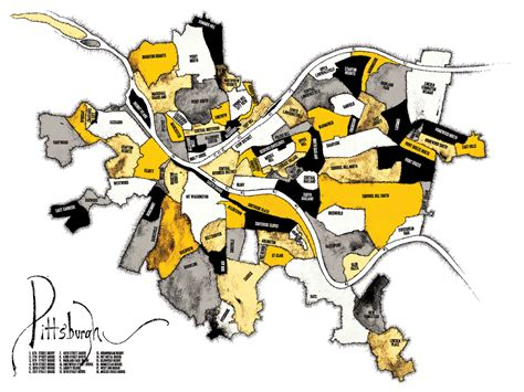 sections of pittsburgh pittsburgh neighborhood map black and gold bear left bear