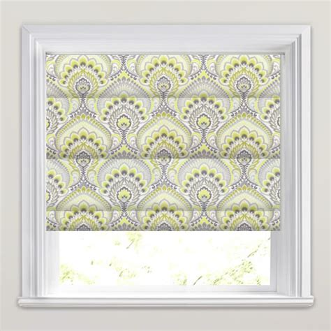 yellow patterned roman blinds yellow gold grey white psychedelic paisley patterned