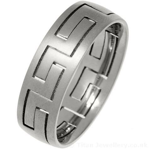 men s 7mm titanium puzzle ring with brushed finish