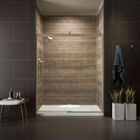 kohler levity shower door kohler levity 59 in x 74 in semi frameless sliding
