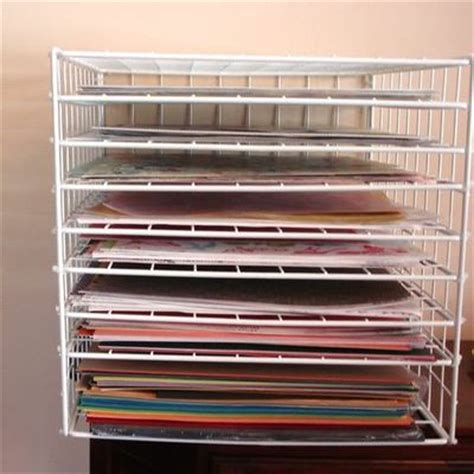 paper storage using wire grid cubes and add shelves