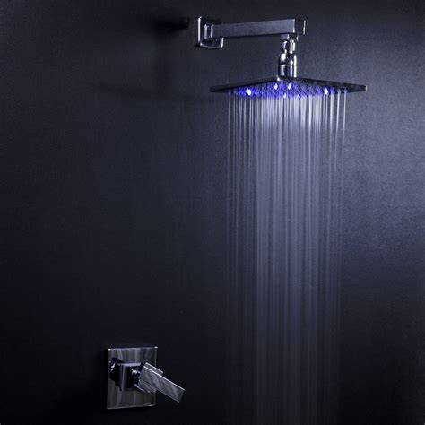 Shower Water Faucet Wall In Led Shower Faucet With 8 Quot Rainbow Led Showerhead