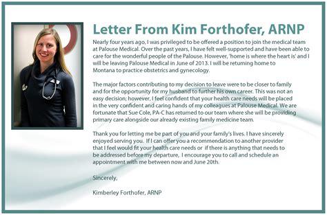 Closing Goodbye Letter announcing provider departure forthofer arnp