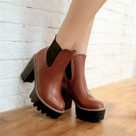 fashion ankle boots high heels chunky heel black brown
