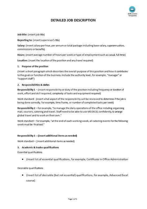 detailed description templates at