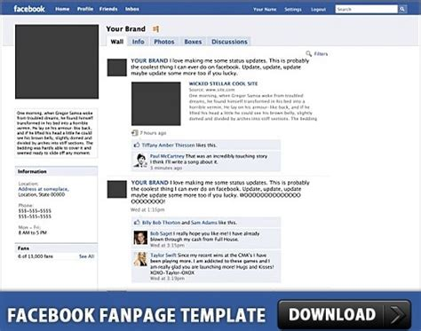 facebook fanpage free psd template free psd in photoshop