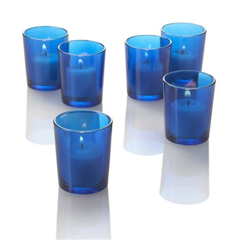 Colored Glass Candle Holders Set Of 12 Colored Glass Votive Candle Holders Blue Ebay
