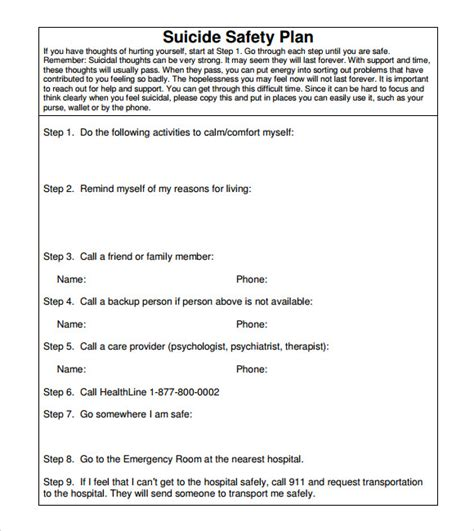 safety plan suicidal ideation template safety plan template 7 documents in pdf